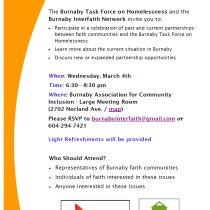Invitation to Dialogue on Homelessness in Burnaby