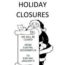 BNH Holiday Closure