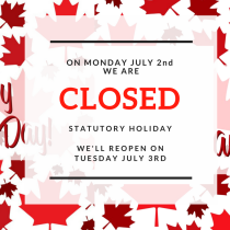 We are closed on July 2nd
